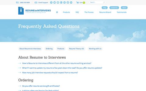 Screenshot of FAQ Page resumetointerviews.com - FAQ - Resume to Interviews - captured Sept. 22, 2014