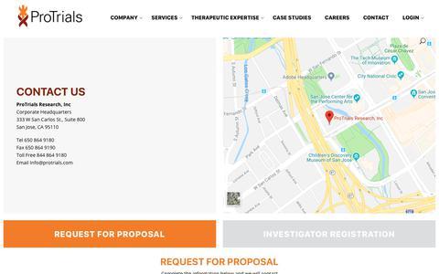 Screenshot of Contact Page protrials.com - Contact - Protrials - captured Nov. 11, 2018