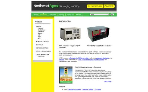 Screenshot of Products Page nwsignal.com - Smart Traffic Signal Control Technology | Northwest Signal Supply - captured Oct. 7, 2014