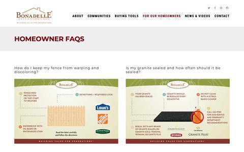 Screenshot of FAQ Page bonadelle.com - Homeowner FAQs at Bonadelle - Bonadelle Neighborhoods - captured Oct. 6, 2018
