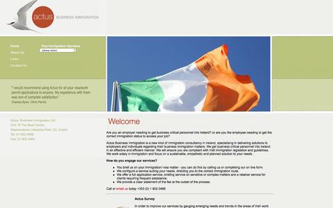 Screenshot of Home Page actus.ie - Immigration Ireland - captured Feb. 5, 2016