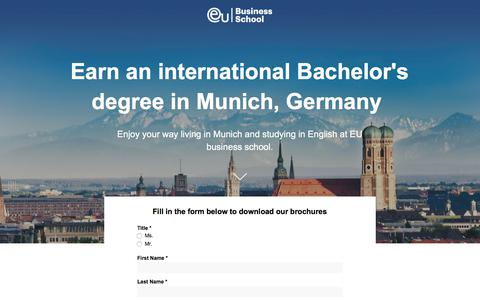 Screenshot of Landing Page euruni.edu - EU Business School - Study your Bachelor's degree in Munich, Germany - captured Sept. 19, 2018