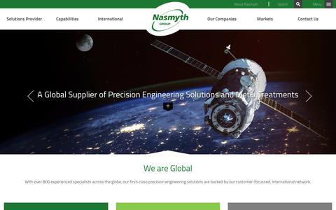 Screenshot of Home Page nasmythgroup.com captured Nov. 15, 2017