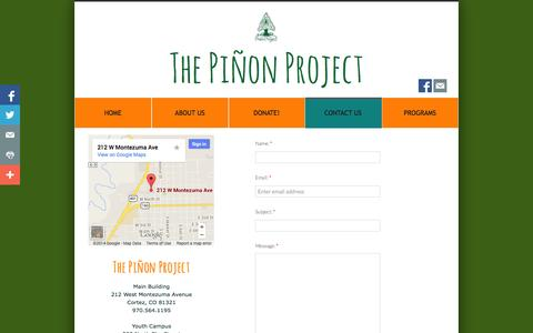 Screenshot of Privacy Page Contact Page pinonproject.org - Contact Us - captured Oct. 26, 2014