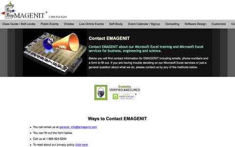 Screenshot of Contact Page emagenit.com - Contact EMAGENIT - captured April 8, 2018