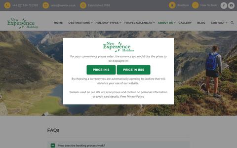 Screenshot of FAQ Page newex.co.uk - FAQs - New Experience Walking Holidays - captured Oct. 18, 2018