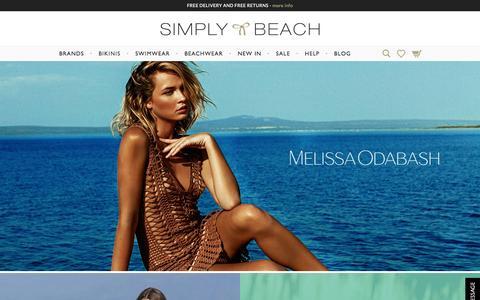 Screenshot of Home Page simplybeach.com - Simply Beach UK | Designer Beachwear and Designer Swimwear - captured Oct. 1, 2015