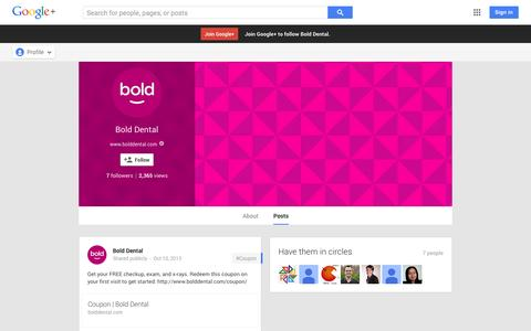 Screenshot of Google Plus Page google.com - Bold Dental - Google+ - captured Oct. 23, 2014