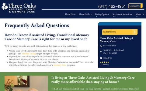 Screenshot of FAQ Page spectrumretirement.com - FAQs | Three Oaks Assisted Living & Memory Care - captured Jan. 23, 2017