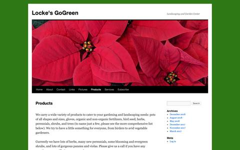 Screenshot of Products Page greensideup.info - Products | Locke's GoGreen - captured Dec. 15, 2018