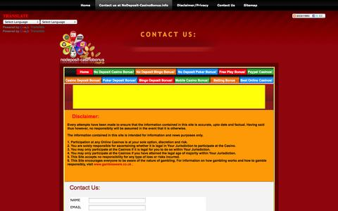 Screenshot of Contact Page nodeposit-casinobonus.info - No Deposit Casino Bonus | Disclaimer/Contact Us - captured Oct. 26, 2014