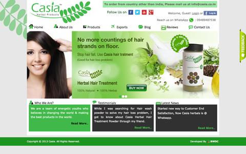Screenshot of Home Page Products Page casia.co.in - Casia Herbal Products. Go Herbal ,Live Healthier - captured Oct. 1, 2014