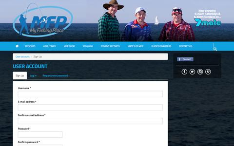 Screenshot of Signup Page myfishingplace.com.au - User account | My Fishing Place - captured Nov. 11, 2017