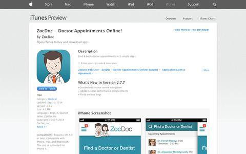 Screenshot of iOS App Page apple.com - ZocDoc - Doctor Appointments Online! on the App Store on iTunes - captured Oct. 22, 2014