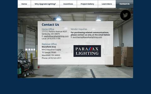 Screenshot of Contact Page parallaxlighting.com - Contact Us - captured Nov. 4, 2018
