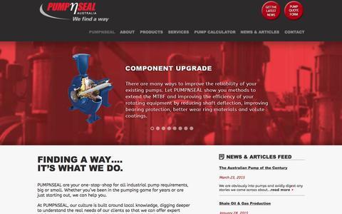 Screenshot of Home Page pumpnseal.com.au - PumpNSeal | Pumps | Mechanical Seals | Pump Training - captured Sept. 30, 2015