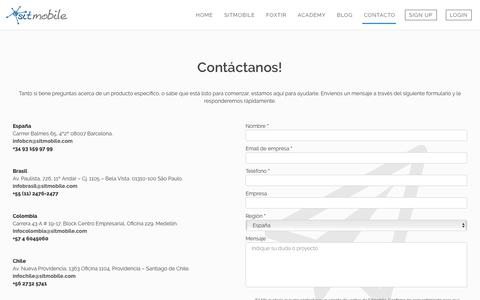 Screenshot of Signup Page sitmobile.com - CONTACTO - SITmobile - captured July 26, 2018