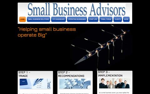 Screenshot of Home Page small-business-advisors.com - small business advisor and small business assist - captured Oct. 7, 2014