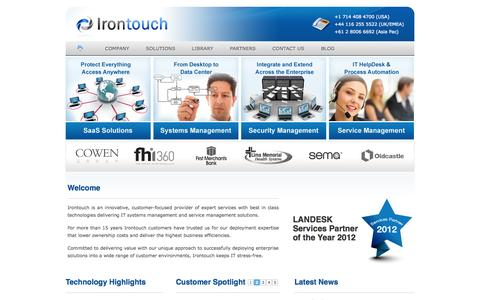 Screenshot of Home Page irontouchms.com - Irontouch | LANDesk reseller of Systems Management and ITIL Service Management Solutions - captured Oct. 6, 2014