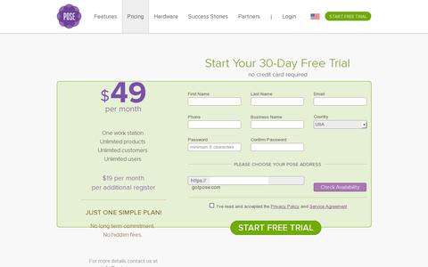 Screenshot of Pricing Page getpose.com - Online Point of Sale for Retail | Pose Web Based Cash Register - captured July 19, 2014