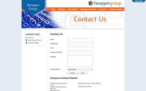 Screenshot of Contact Page hexagon.co.uk - Hexagon Software Group - Contact Us - captured Oct. 2, 2014