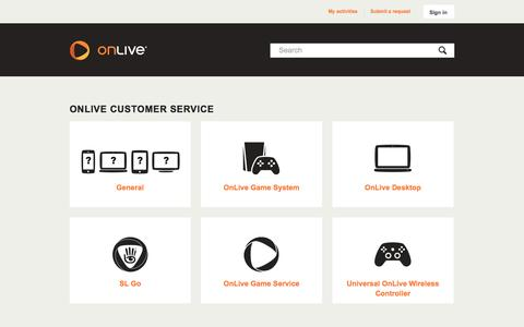 Screenshot of Support Page onlive.com - OnLive Customer Service - captured Sept. 17, 2014