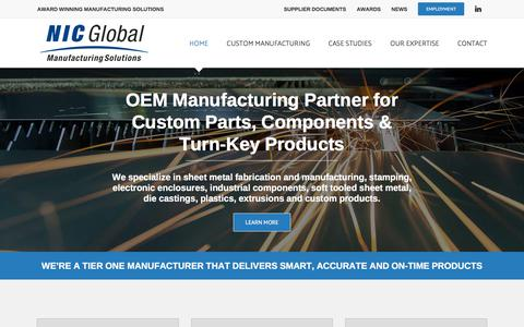 Screenshot of Home Page nicglobalms.com - NIC Global Manufacturing Solutions: OEM, Sheet Metal Fabrication, Plastic - captured Sept. 25, 2018