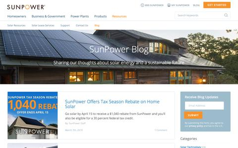 Screenshot of Blog sunpower.com - Let's change the way our world is powered | SunPower Solar Blog - captured March 19, 2019