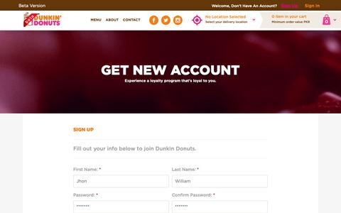Screenshot of Signup Page dunkindonuts.pk - Dunkin Donuts | Home Page - captured Oct. 12, 2018