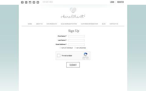 Screenshot of Signup Page kerenhart.com - Sign Up  |  Keren Hart Ltd. - captured Nov. 27, 2016