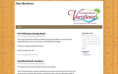 Screenshot of Blog cinnamonbeachvacations.com - Our Reviews - captured Sept. 29, 2014