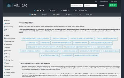 Screenshot of Terms Page betvictor.com - Sports - Terms and Conditions - BetVictor - captured June 1, 2017
