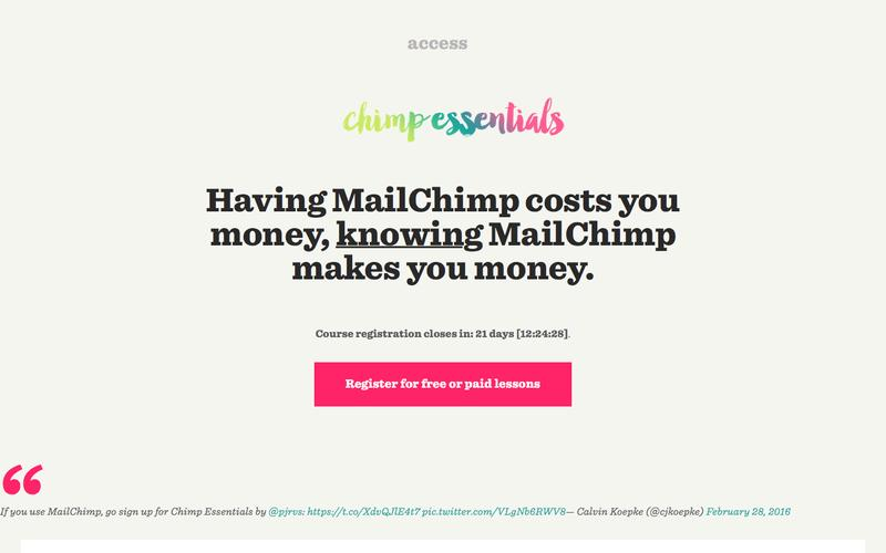 Screenshot Chimp Essentials – Use MailChimp to grow your business