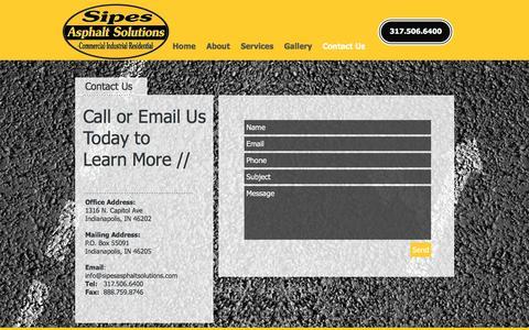 Screenshot of Contact Page sipesasphalt.com - Sipes Asphalt Solutions Co. - captured Nov. 19, 2016
