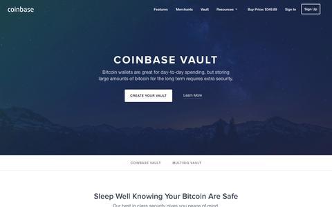 Screenshot of coinbase.com - Bitcoin Vault - Coinbase - captured Dec. 13, 2014