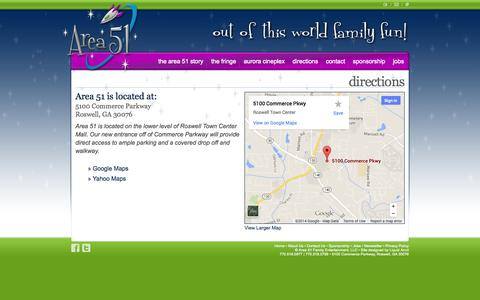 Screenshot of Maps & Directions Page a51fun.com - Get Directions to Area 51 in Roswell, Georgia - captured Oct. 4, 2014