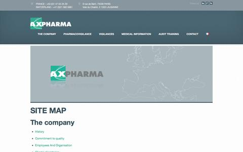 Screenshot of Site Map Page axpharma.com - SITE MAP | Axpharma - captured July 27, 2016