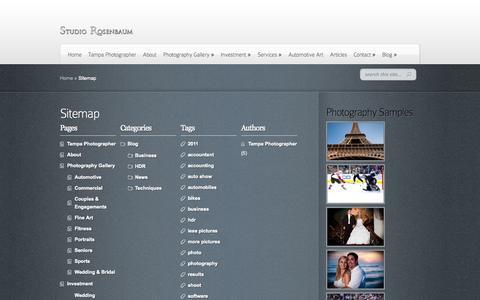 Screenshot of Site Map Page studiorosenbaum.com - Sitemap | Studio Rosenbaum Photography - captured Oct. 9, 2014
