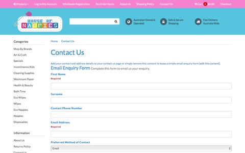 Screenshot of Contact Page houseofnappies.com.au - Contact Us - captured May 23, 2017