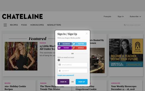 Screenshot of Home Page Login Page chatelaine.com - Chatelaine - Healthy Cooking Recipes, Easy Meal Plans... - captured Dec. 11, 2018