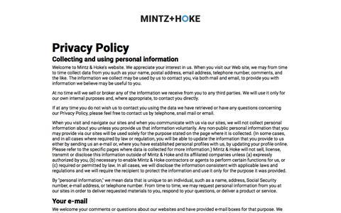 Screenshot of Privacy Page mintz-hoke.com - Mintz + Hoke | Privacy Policy - captured Sept. 20, 2018