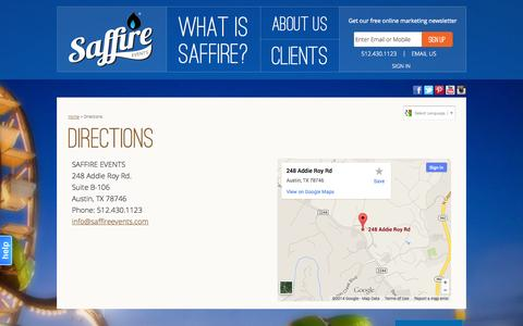 Screenshot of Maps & Directions Page saffireevents.com - Directions - captured Sept. 19, 2014