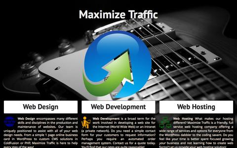 Screenshot of Home Page maximize-traffic.com - Web Design Development & Hosting in Iowa by Maximize Traffic Hosting - captured Oct. 9, 2015