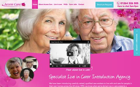 Screenshot of Home Page access-care.co.uk - Specialist Live In Care Agency - Access Care - Access Care - captured Feb. 5, 2016
