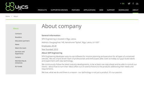 Screenshot of About Page ugcs.com - About The Company | UgCS - captured Nov. 18, 2016