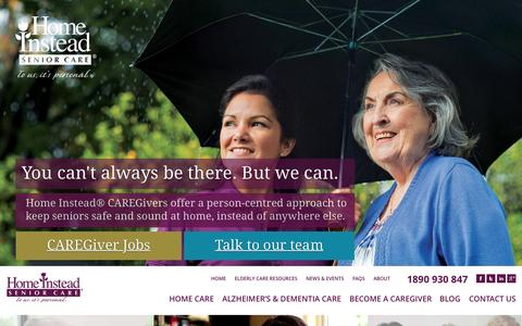 Screenshot of Home Page homeinstead.ie - Home Care - Home Help - Elderly Home Care - Home Instead Senior Care - captured Sept. 18, 2015