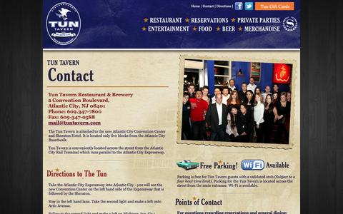 Screenshot of Contact Page Maps & Directions Page tuntavern.com - Contact Us and Locate the Tun Tavern - Atlantic City's Only Brewery & Restaurant - captured May 10, 2016