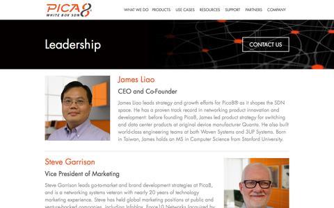 Screenshot of Team Page pica8.com - Pica8   �  Leadership - captured Dec. 4, 2015