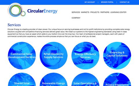 Screenshot of Services Page circularenergy.com - Services | Circular Energy - captured July 4, 2016