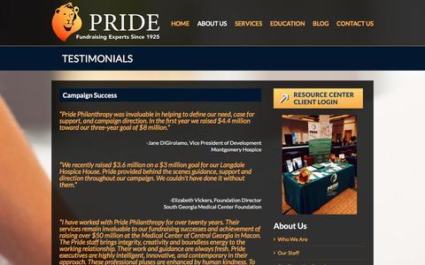 Screenshot of Testimonials Page pridephilanthropy.com - Testimonials - Pride Philanthropy - captured Dec. 12, 2015